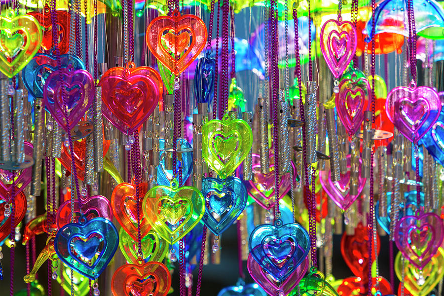 Heart Shaped Wind Chimes, India Photograph by Stuart Dee
