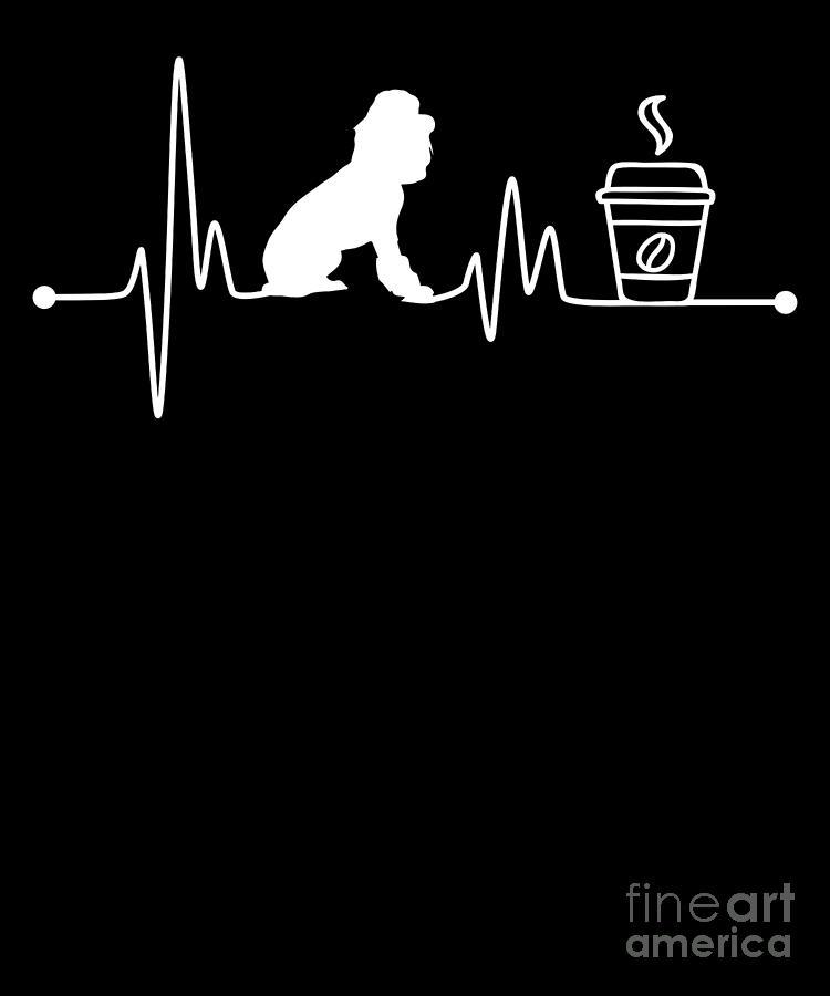 Poodle Digital Art - Heartbeat Ekg Pulse Poodle Coffee Lover by TeeQueen2603