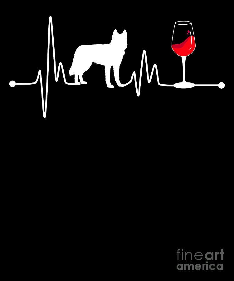 Drunk Digital Art - Heartbeat Ekg Pulse Siberian Husky And Wine by TeeQueen2603