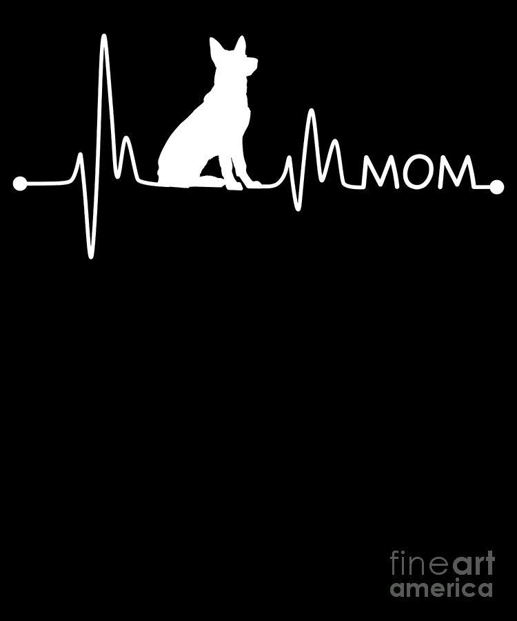 German-shepherd Digital Art - Heartbeat Pulse Line German Shepherd Mom Dog Lover by TeeQueen2603