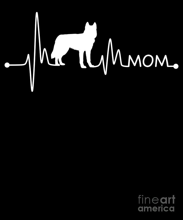 Husky Digital Art - Heartbeat Pulse Line Siberian Husky Mom Dog Lover by TeeQueen2603