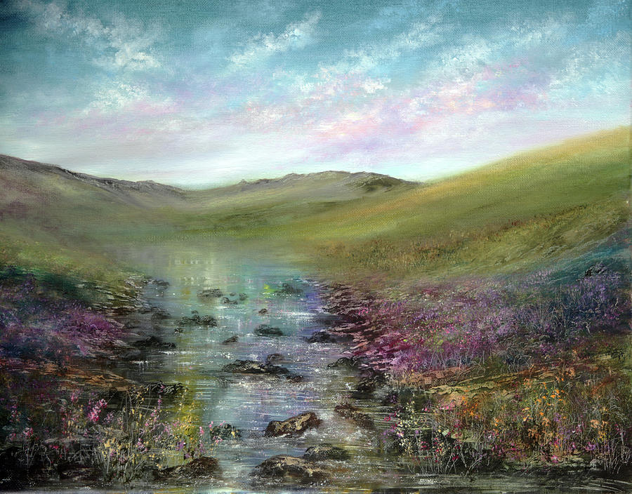 Hand Painted Painting - Heather By The Sea by Ann Marie Bone