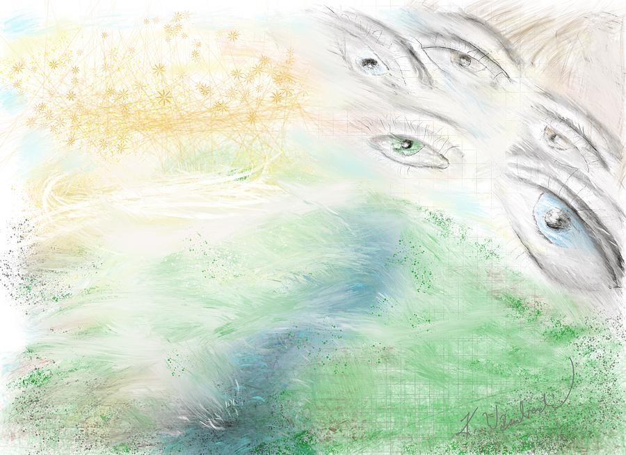 Spiritual Digital Art - Heavens Mountain  by Kristen Wambach