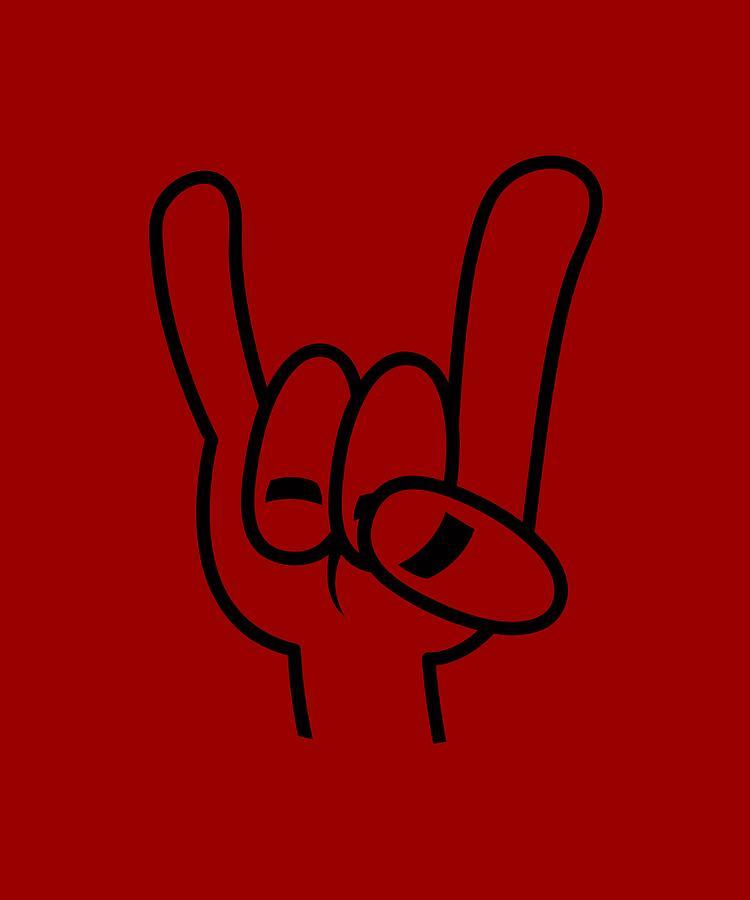 Heavy Metal Devil Horns Black Line Digital Art