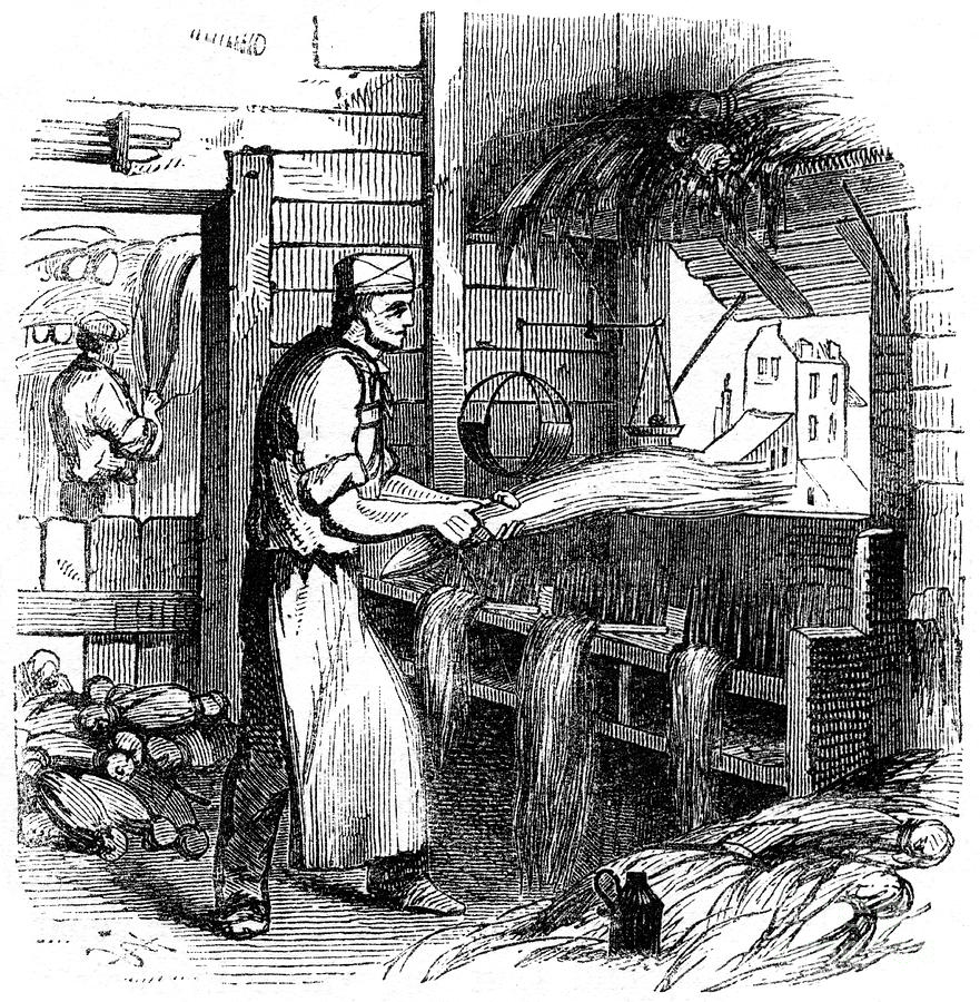 Heckling Hemp, 1866 Drawing by Print Collector