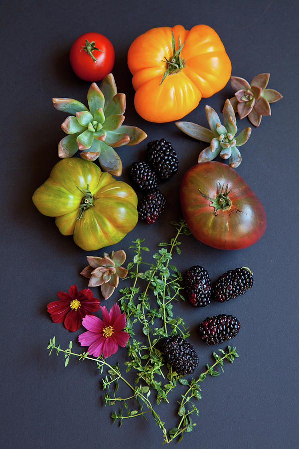 Heirloom Tomatoes With Herbs, Berries Photograph by Beth D. Yeaw