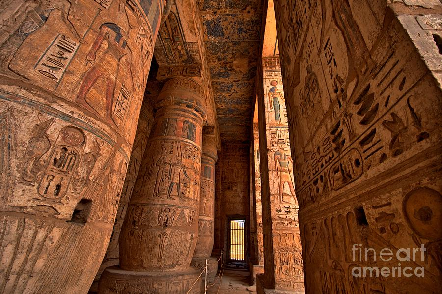 Civilization Photograph - Heiroglyphs At Medinat Habu Luxor by Eastvillage Images