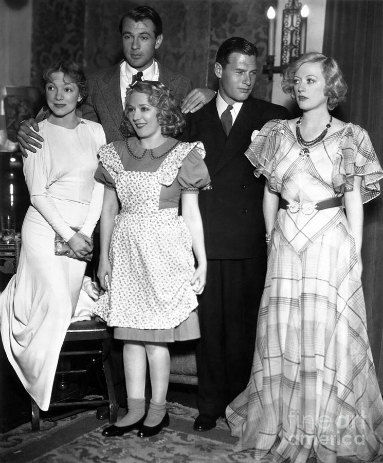 Helen Hayes Photograph - Helen Hayes Gary Cooper Mary Pickford Richard Arlen Marion Dav by Sad Hill - Bizarre Los Angeles Archive