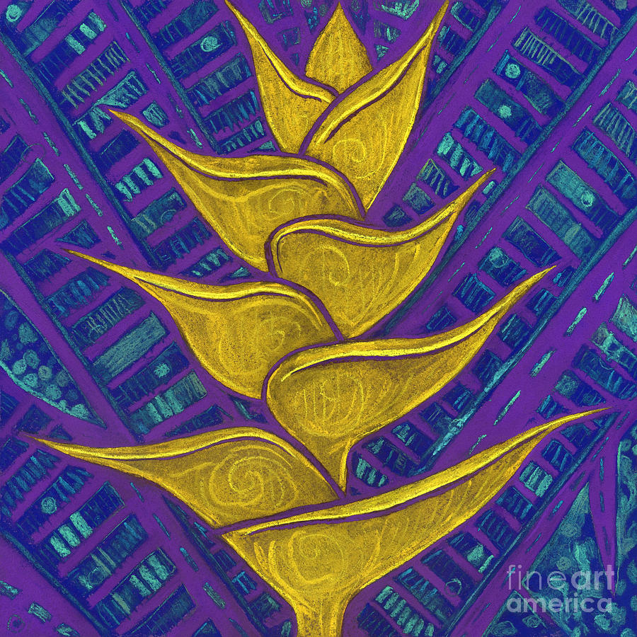 Contemporary Floral Digital Art - Heliconia Golden Yellow Purple by Julia Khoroshikh