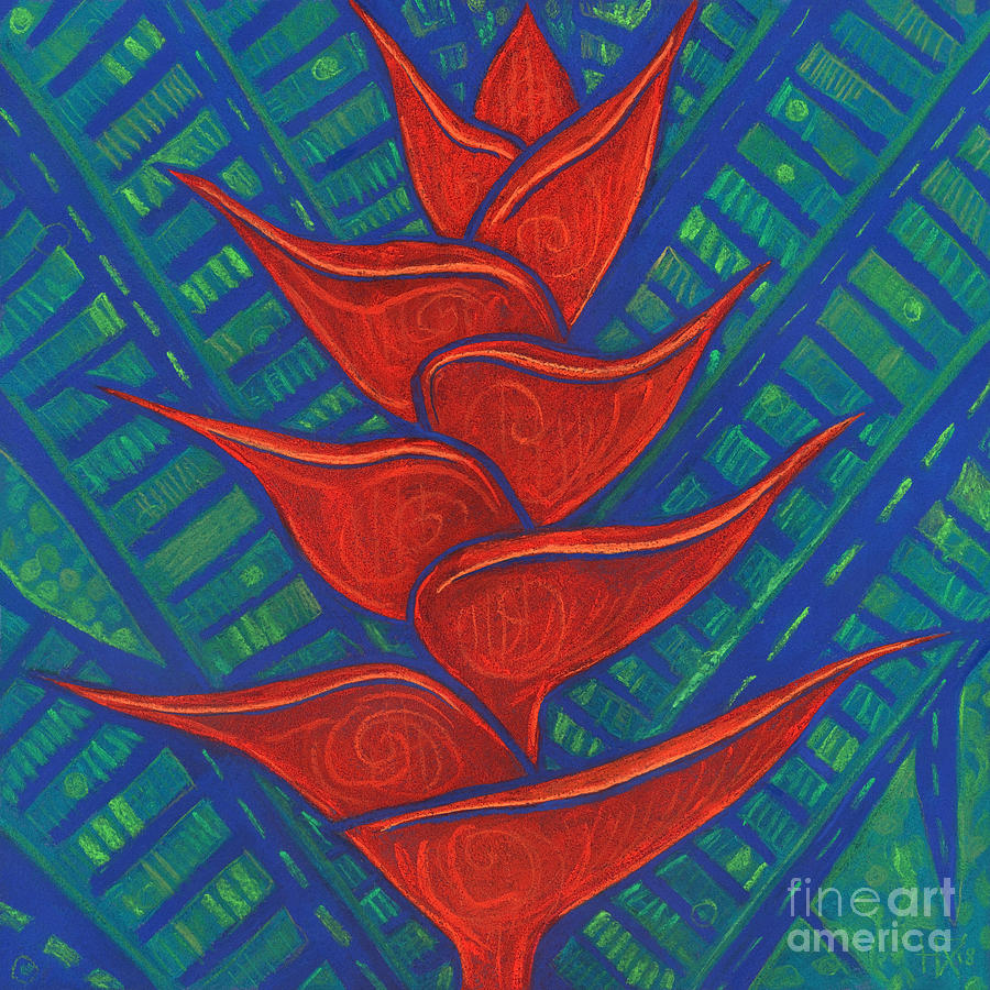 Contemporary Floral Pastel - Heliconia, Red and Blue by Julia Khoroshikh