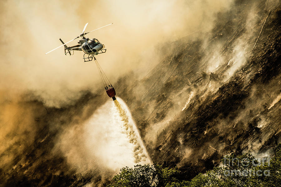 Helicopter Photograph - Helicopter Dropping Water On A Forest Fire by Keith Morris