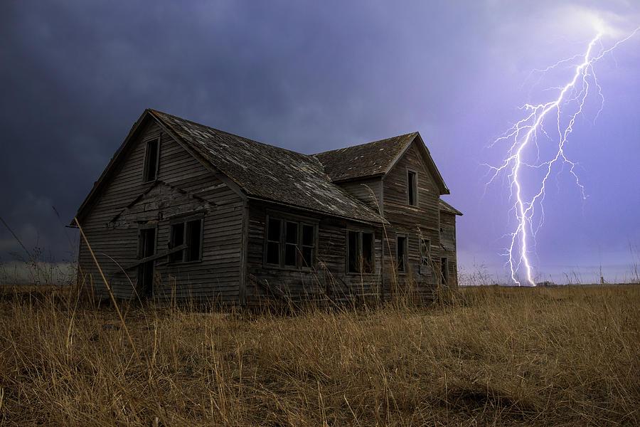 Lightning Photograph - Hell House  by Aaron J Groen