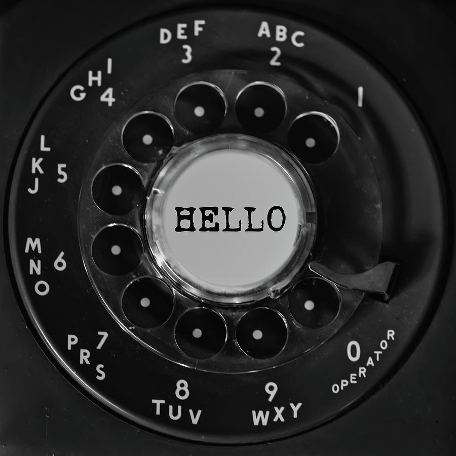 Hello Rotary Black Phone Dial Square by Terry DeLuco