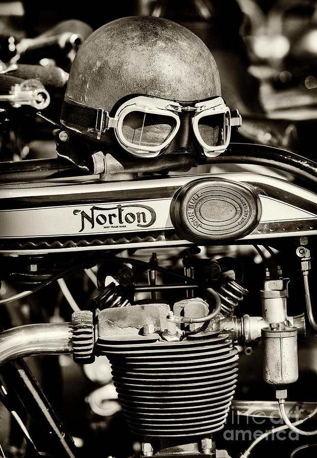 Norton Photograph - Helmet and Goggles on a Vintage Norton by Tim Gainey