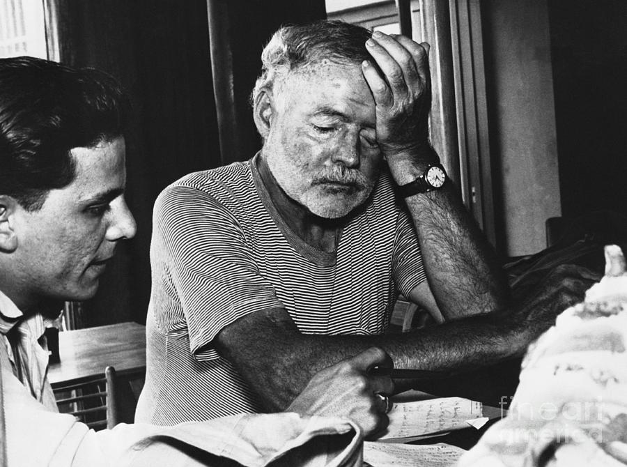 Hemingway Talks With Journalist Photograph by Bettmann