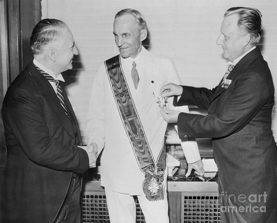 Henry Ford Receiving German Award Photograph by Bettmann