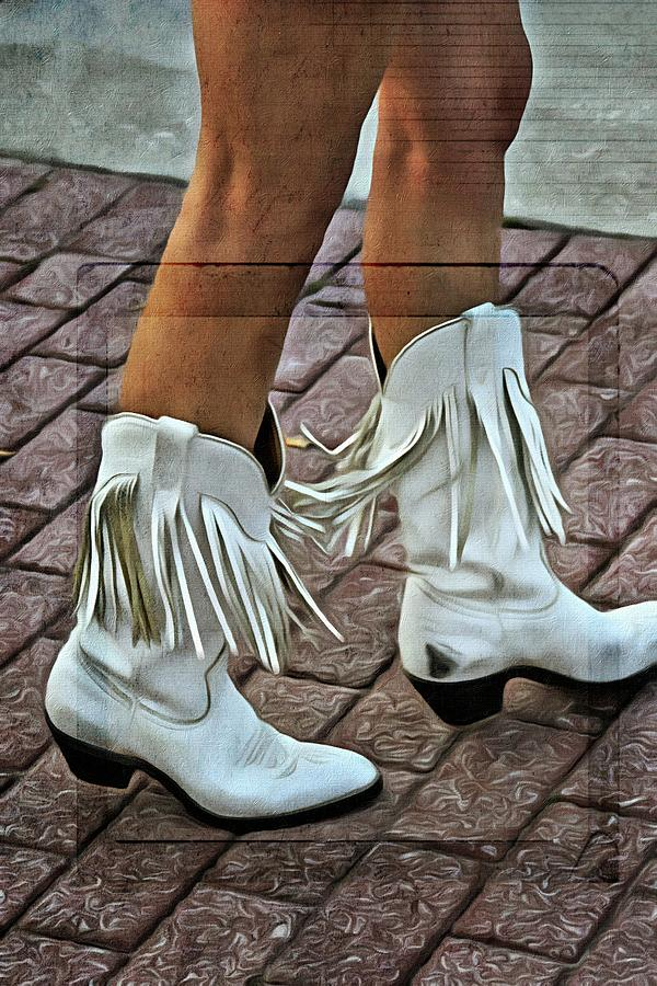 White Fringed Scuffed Boots Photograph