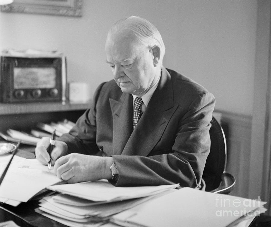 Herbert Hoover Busy At His Desk Photograph by Bettmann