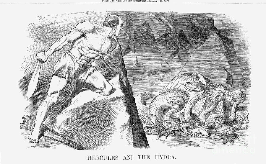 Hercules And The Hydra, 1870. Artist Drawing by Print Collector