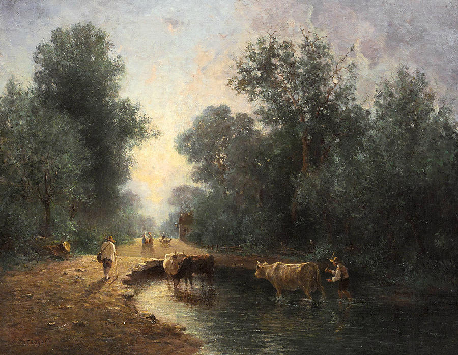 Herd and Herdsmen at the Watering Place in the Wood by Constant Troyon