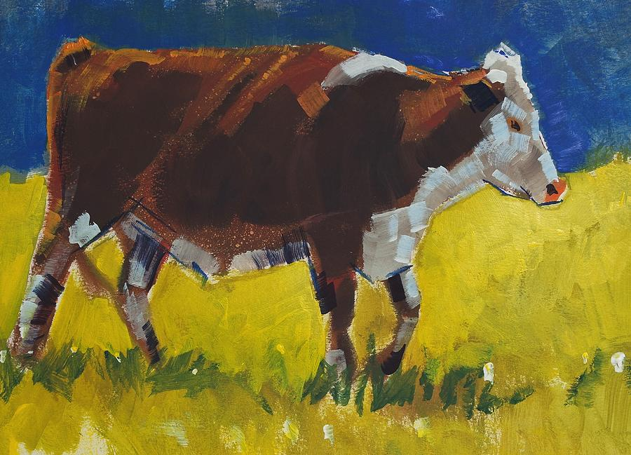 Hereford cow painting - brown and white steer walking  by Mike Jory