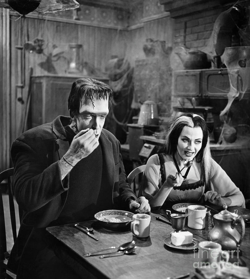 Herman And Lily Munster At Breakfast Photograph by Bettmann