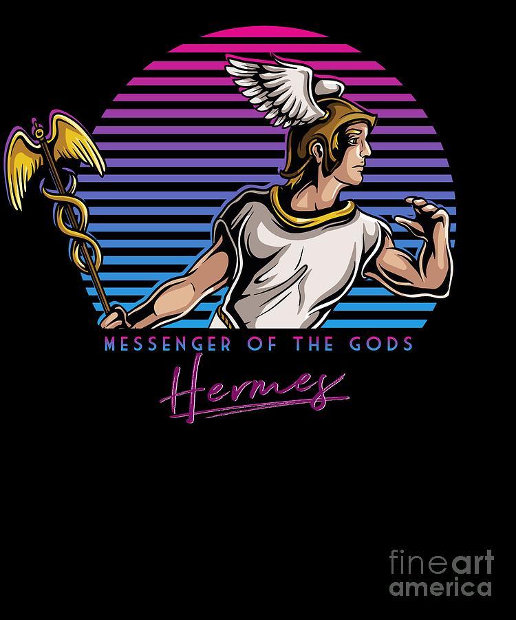 Hermes Messenger Of The Gods Greek Mythology 80s Neon Retro