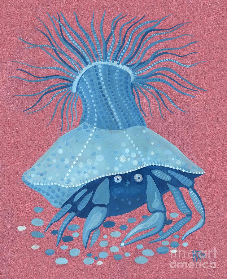 Hermit Crab Painting - Hermit Crab, Pink Blue Series by Julia Khoroshikh