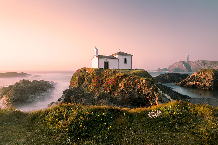 Ocean Photograph - Hermitage On The Top Of A Cliff,galicia,spain. by Adrian Nunez
