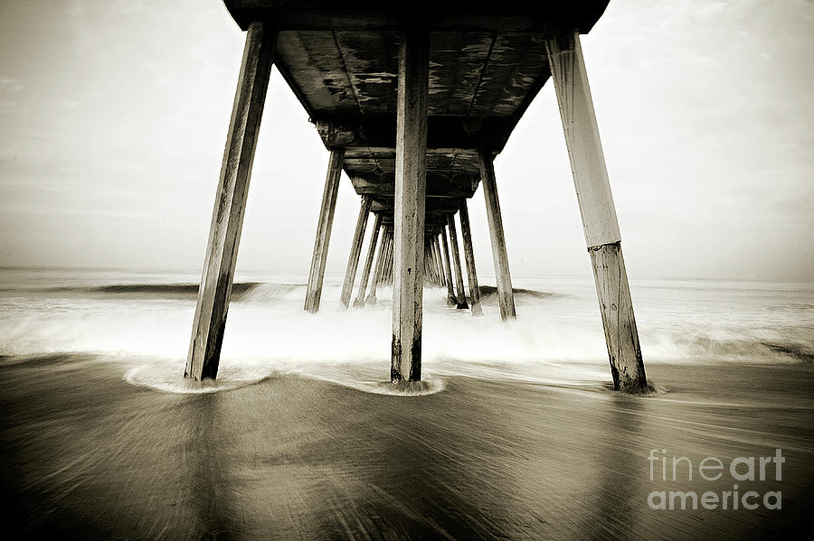 Hermosa Beach Pier In Black And White Photograph