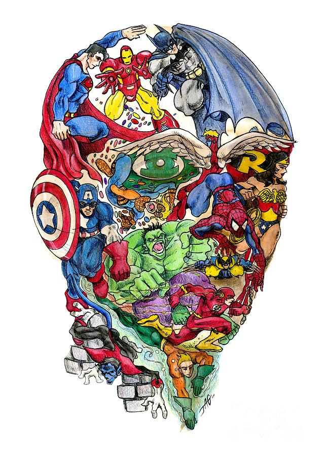 Superhero Drawing - Heroic Mind by John Ashton Golden
