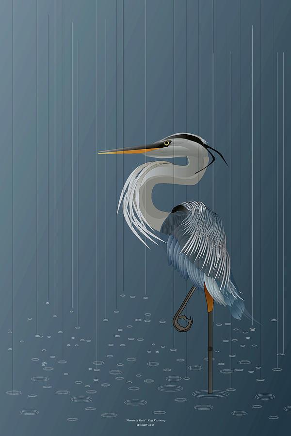 Heron in Rain by WiseWild57