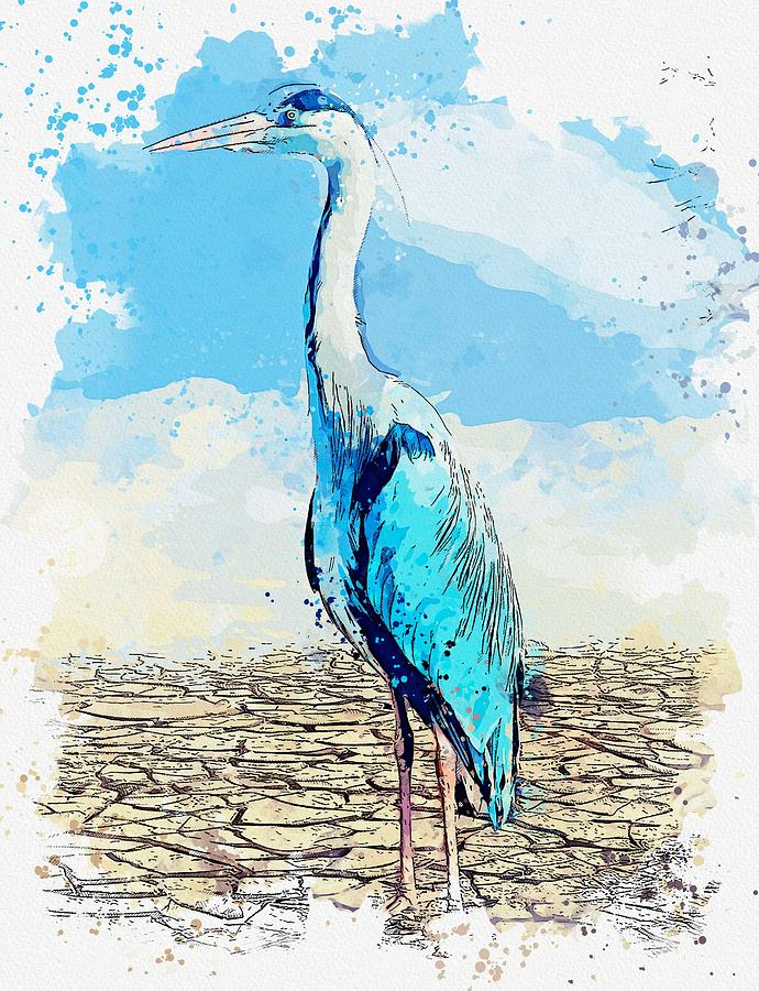 Heron  Landscape  Nature watercolor by Ahmet Asar by Ahmet Asar