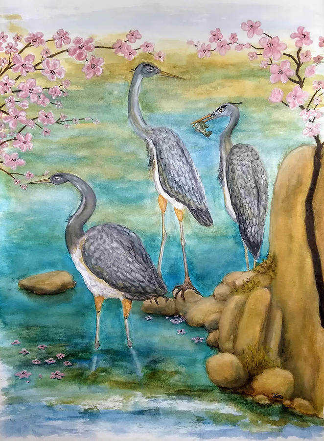 Wildlife Painting - Herons In The Cherry Blossoms by Vallee Johnson
