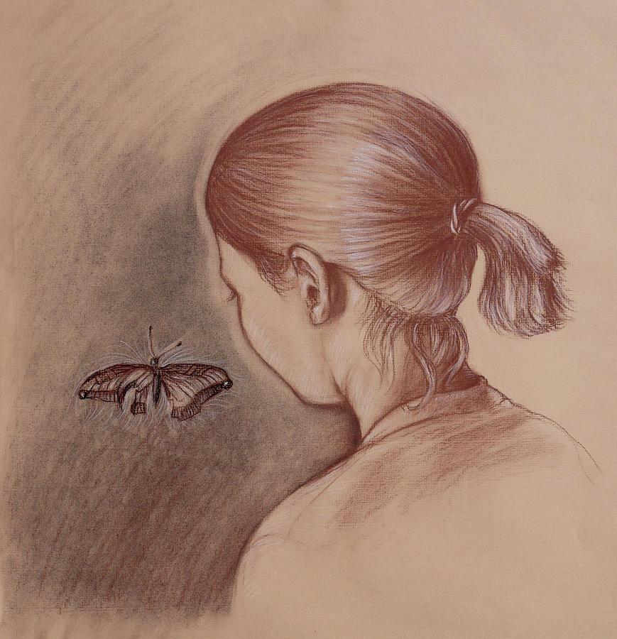 Butterfly Drawing - Hey Butterfly by Joseph Demaree