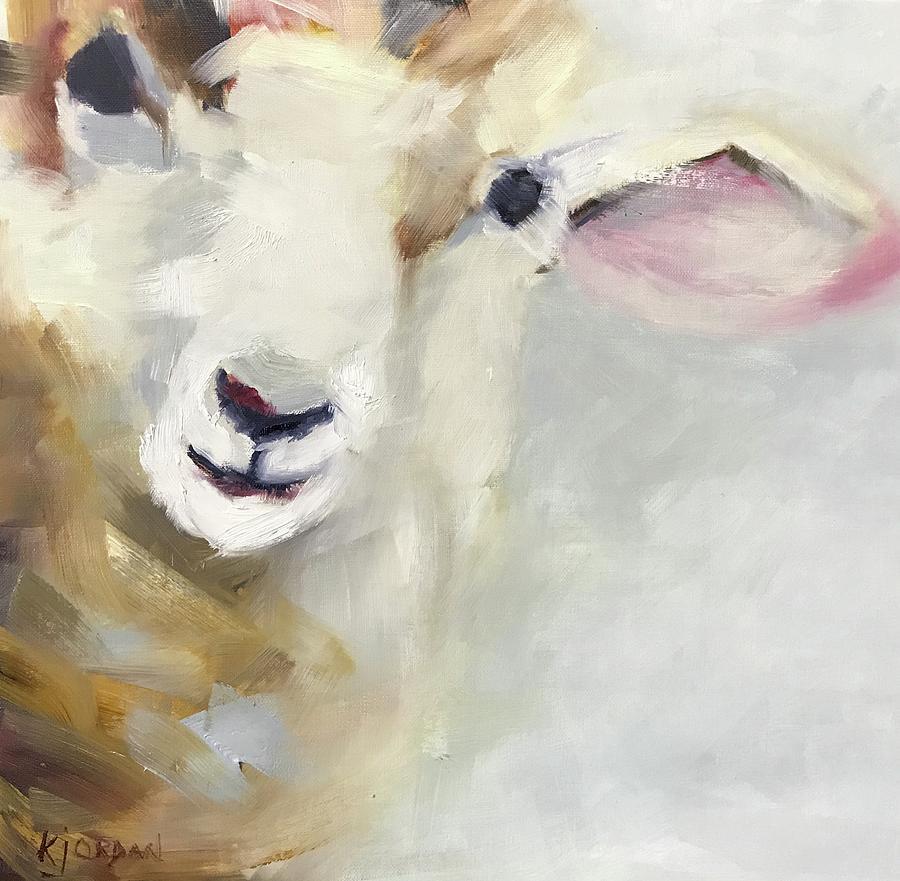 Sheep Painting - Hi by Karen Jordan