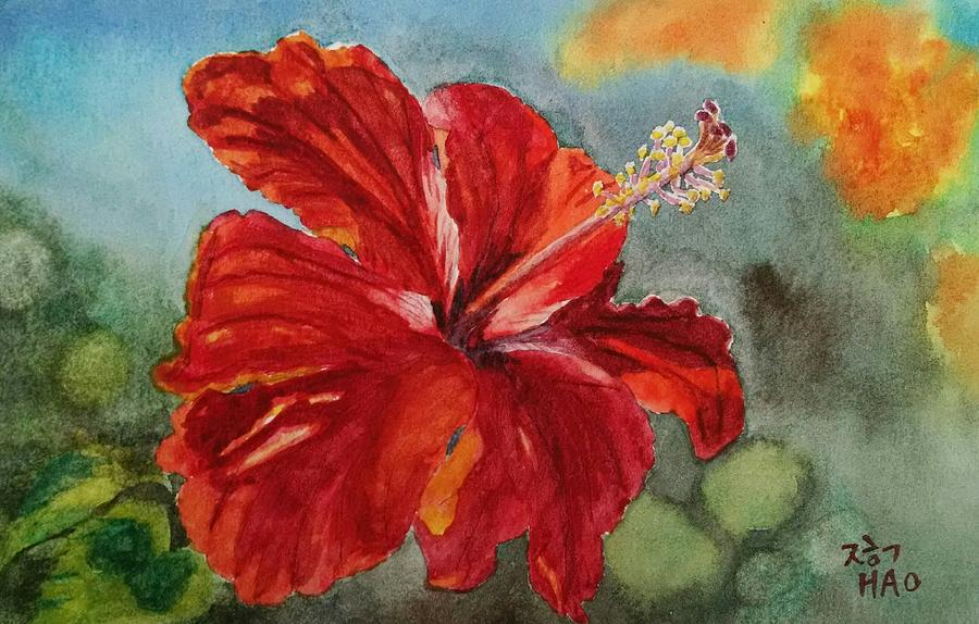 Hibiscus Painting - Red Hibiscus by Helian Osher