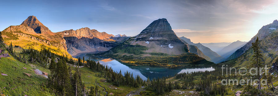 Hidden Lake Calm Sunset Panorama by Adam Jewell