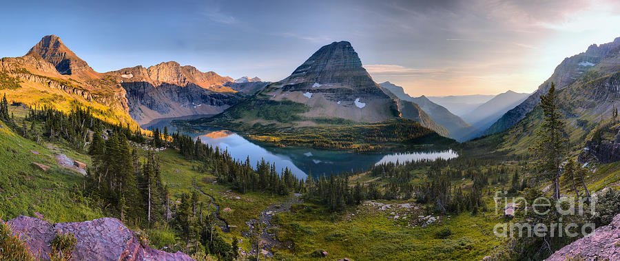 HIdden Lake Golden Glow Reflections Panorama by Adam Jewell