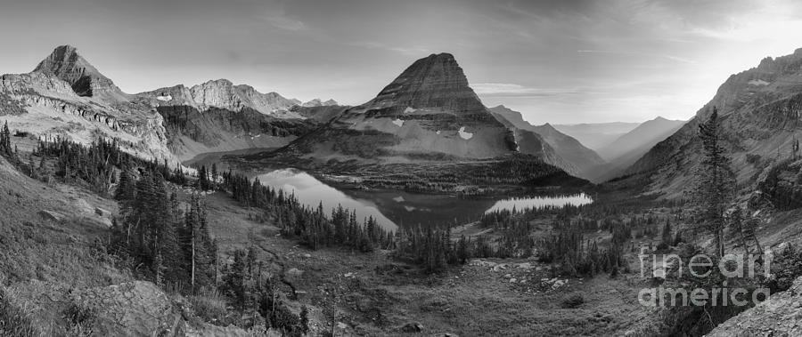Hidden Lake Golden Glow Reflections Panorama Black And White by Adam Jewell
