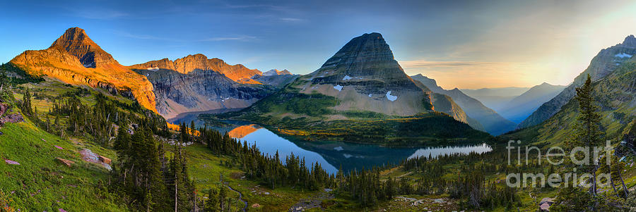 Hidden Lake Golden Glow Sunset Panorama by Adam Jewell