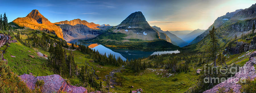 HIdden Lake Golden Hour Panorama by Adam Jewell