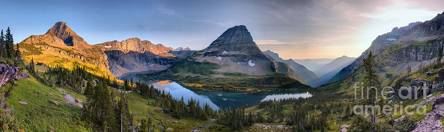 Hidden Lake Sunset Reflection Panorama by Adam Jewell