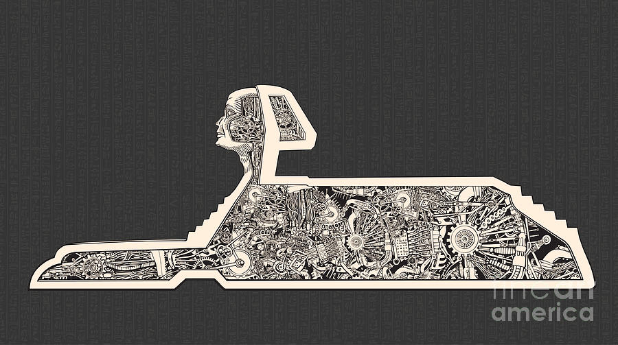 Steampunk Digital Art - Hidden Technology Inside The Sphinx by Ryger