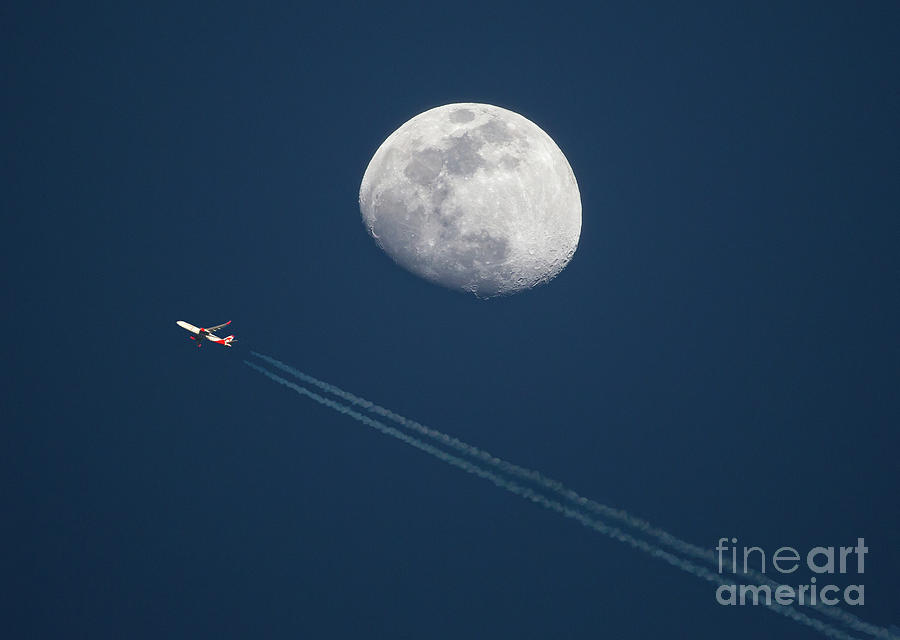 High Altitude Airliner and Gibbous Moon by Kevin McCarthy
