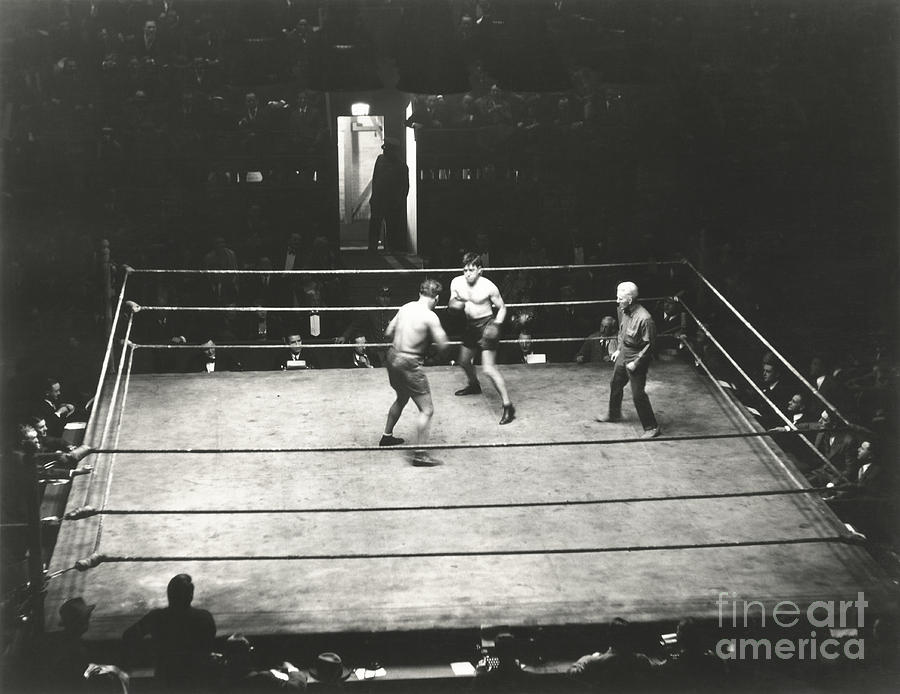 Ring Photograph - High Angle View Of Boxing Match by Everett Collection