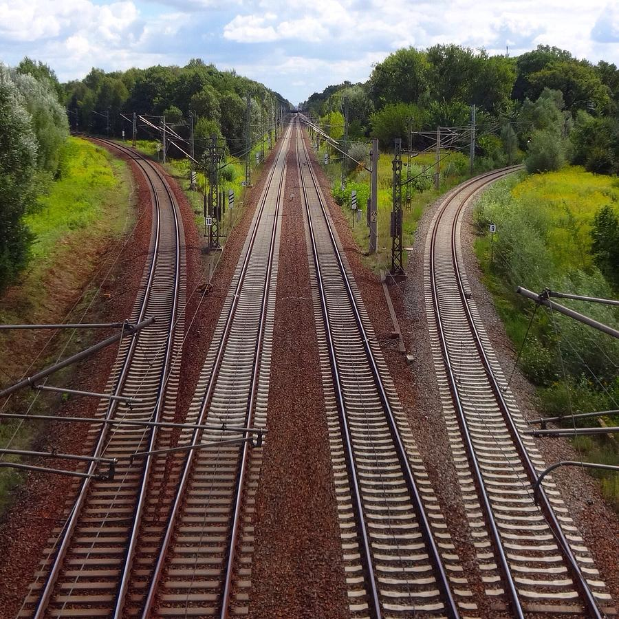High Angle View Of Empty Railroad Tracks Photograph by Thomas Albrecht / Eyeem