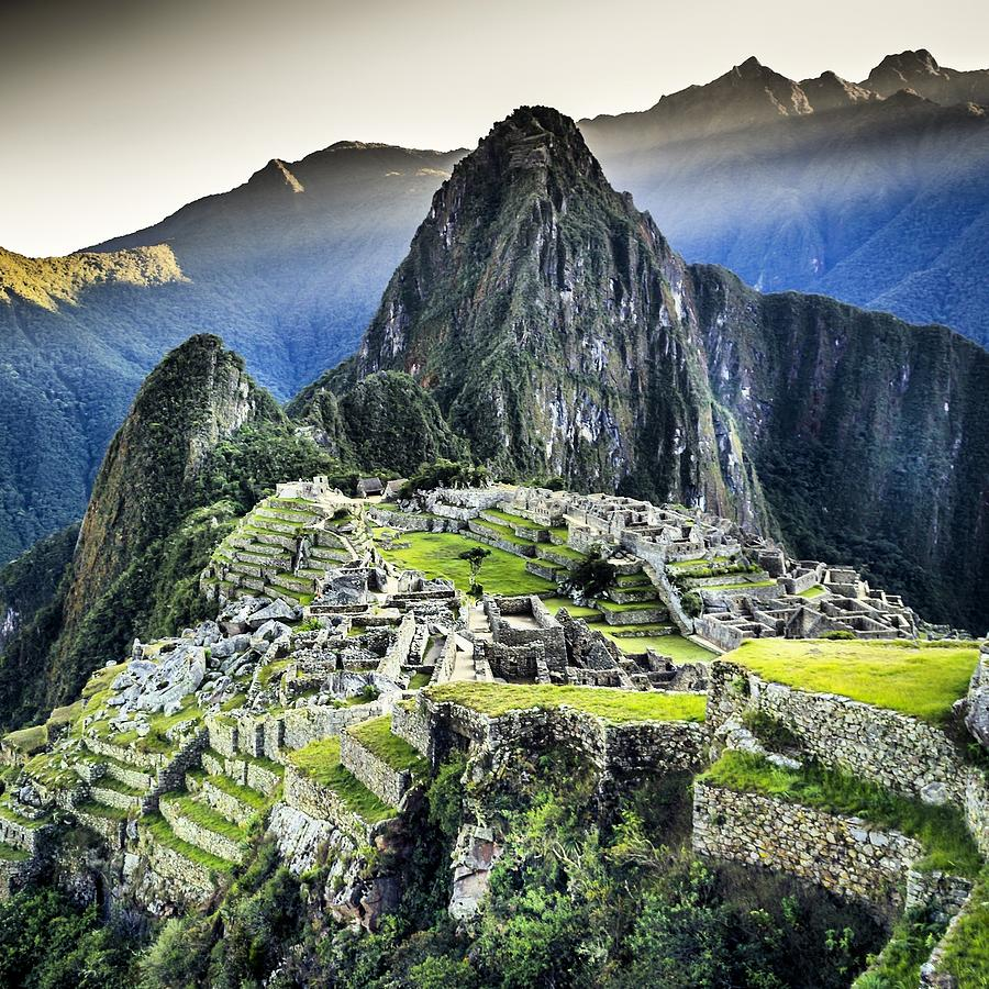 High Angle View Of Machu Picchu Against Photograph by Diego Cambiaso / Eyeem