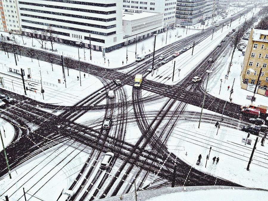 High Angle View Of Snow Covered Street Photograph by Norbert Breuer / Eyeem