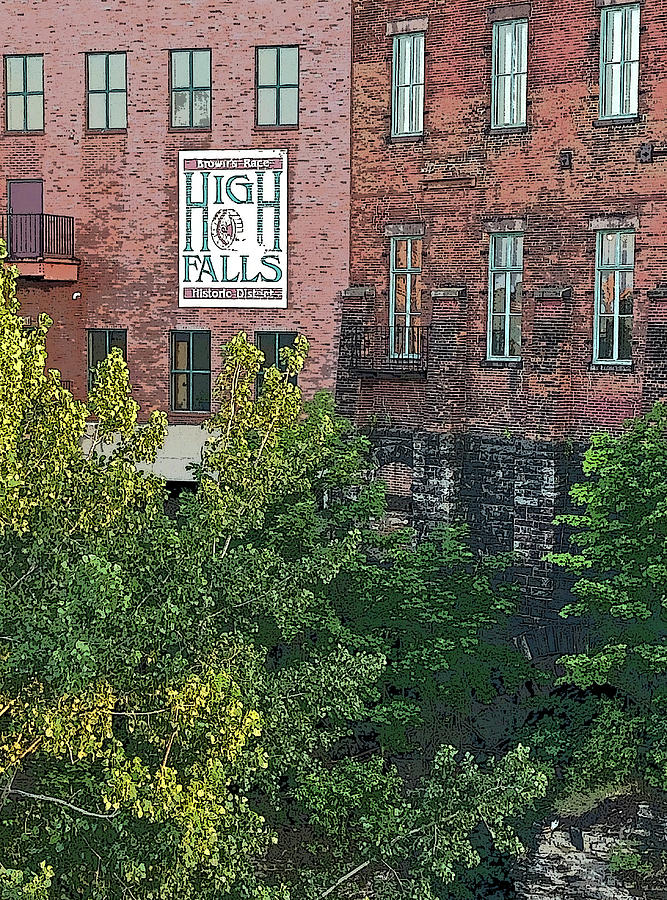 High Falls Historic District Poster Edges by Aimee L Maher ALM GALLERY